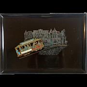 Vintage Couroc Of Monterey San Francisco Cable Car Decorative Tray
