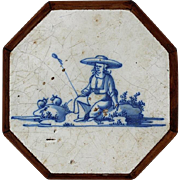 18th Century Delft Blue And White Octagon Tile