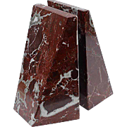 Pair Of Vintage Red Marble Bookends