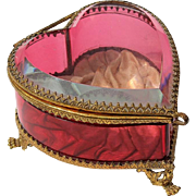 19th Century French Beveled Ruby Glass Heart Jewel Casket With Original Pink Silk Interior