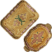 Pair Of Vintage Florentine Gilt Wood Vanity Trays