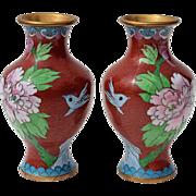 Vintage Pair Of Chinese Cloisonne Floral Vases