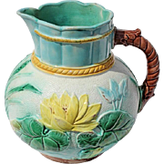 19th Century English Majolica Water Lily Pitcher, Circa 1870