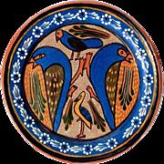 Early Vintage Mexican Tlaquepaque Petatillo Pottery Bird Plate