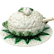 Antique Majolica Cauliflower Tureen, Lid, Underplate And Ladle