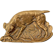 Early Vintage Brass Dog Tray