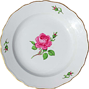 Vintage Meissen Porcelain Rose Lunch Plate