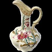 Antique Austrian Amphora Orchid Floral Pitcher, Circa 1900