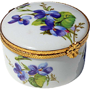 Vintage Signed French Limoges Porcelain Pansy Box