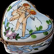 Vintage Signed French Limoges Porcelain Cherub Heart Box