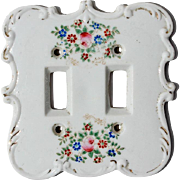 Vintage Hand-Painted Porcelain Switch Plate, Circa 1940