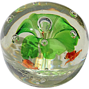 Vintage Art Glass Flower Paperweight