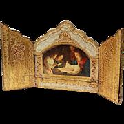 Vintage Florentine Gilt Wood Triptych