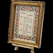 Vintage Florentine Gilt Wood Framed Blessing Of St Francis For Animals On Easel