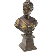 19th Century Small French Bronze Bust Of A Woman
