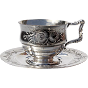Victorian Silver Plated Tea Cup & Saucer, Circa 1899