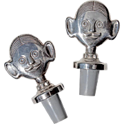 Pair Of Vintage Italian Silver Plated Sommelier Wine Bottle Stoppers