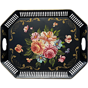 Large Vintage Floral Painted Black Metal Tole Tray