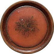 Early Vintage French Round Metal Tole Tray