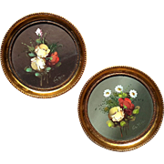 Pair Of Vintage Hand-Painted Spanish Florals In Gilt Wood Frames