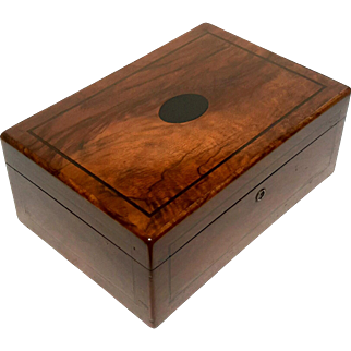 Antique Inlaid Wood Humidor Box, Circa 1900
