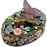 Jeweled And Enameled Metal Butterfly Trinket Box