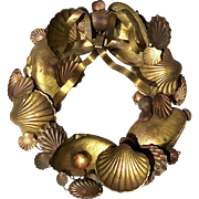 Vintage Brass & Copper Metal Seashell Wreath