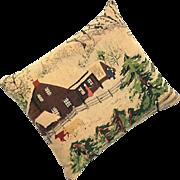 Vintage Winter Farm Scene Pine Needle Pillow