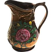19th Century English Pottery Copper Luster Floral Pitcher, Circa 1875