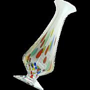 Vintage Mid-Century Murano Art Glass Pedistal Vase, Circa 1950