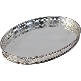 Early Vintage Sheffield Silver Plated Gallery Tray By William Adams, Circa 1920