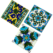 Set Of Three Vintage Persian Tiles