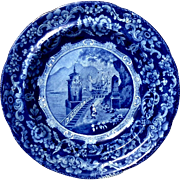 19th Century Flow Blue Scenic Plate, Circa 1860