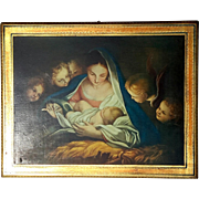 Large Vintage Florentine Gilt Wood Madonna And Child Plaque