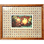 Antique Color Lithograph Of Fruit In Birdseye Maple Frame, Circa 1900