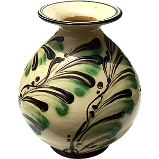 Signed Danish Slip Decorated Art Pottery Vase, Circa 1925