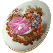Signed Vintage French Limoges Porcelain Egg Box