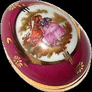 Signed Vintage French Limoges Porcelain Egg Box