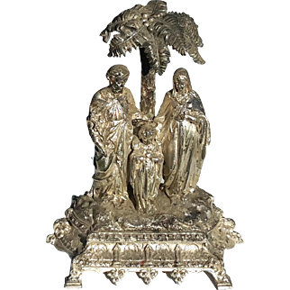 19th Century French Silver Plated Jesus, Mary And Joseph Statue