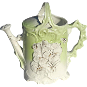 Antique Victorian Porcelain Watering Pitcher With Pansy Flower Motif