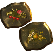 Pair Of Vintage Signed Gold Leafed And Hand-Decorated Serving Trays