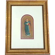 Antique Gilt Wood Framed Italian Angel Lithograph, Circa 1900