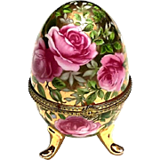 Vintage French Limoges Porcelain Gilt Gold Footed Egg Box