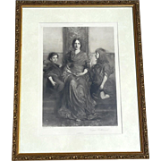 Gilt Wood Framed Photogravure Titled Virgin Enthroned, Circa 1893