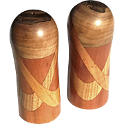 Pair Of Artist Made Inlaid Satin Wood Salt And Pepper Shakers