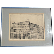 Signed Vintage Engraving Titled Auto, Circa 1950