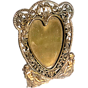 Antique Victorian Brass Heart And Cherubs Picture Frame