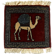 Vintage Hand-Knotted Small Wool Rug With Camel