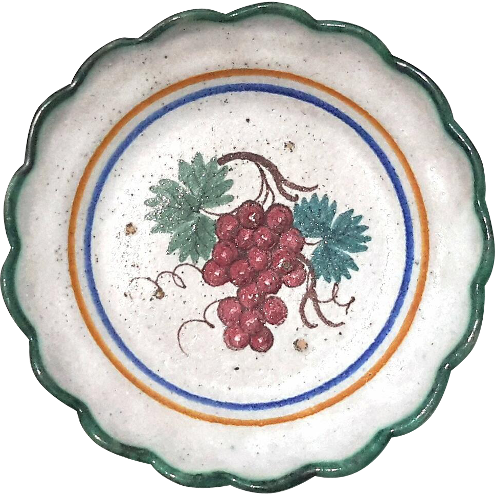 early vintage italian faience pottery plate with grapes from stephenakramer on ruby lane. Black Bedroom Furniture Sets. Home Design Ideas