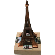 Early Vintage Copper And Marble Effel Tower Paris Souvenir, Circa 1930